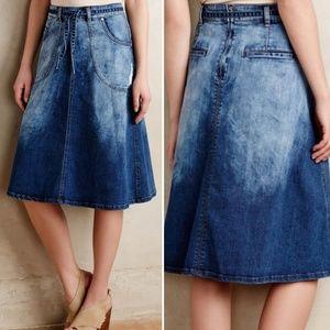 Anthropologie A-line denim skirt withtie at waist